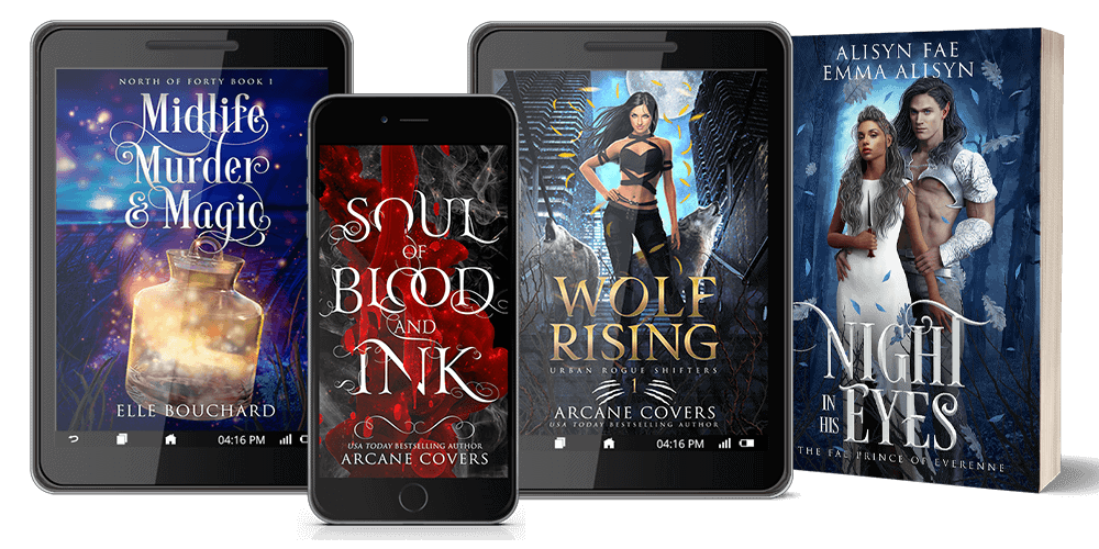 Arcane Covers Fantasy Book Cover Examples- ebook cover, paperback cover, audiobook cover and phone view